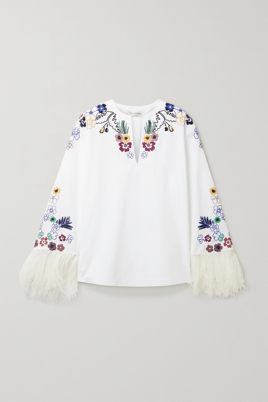 VALENTINO Feather-trimmed embellished cotton-poplin blouse