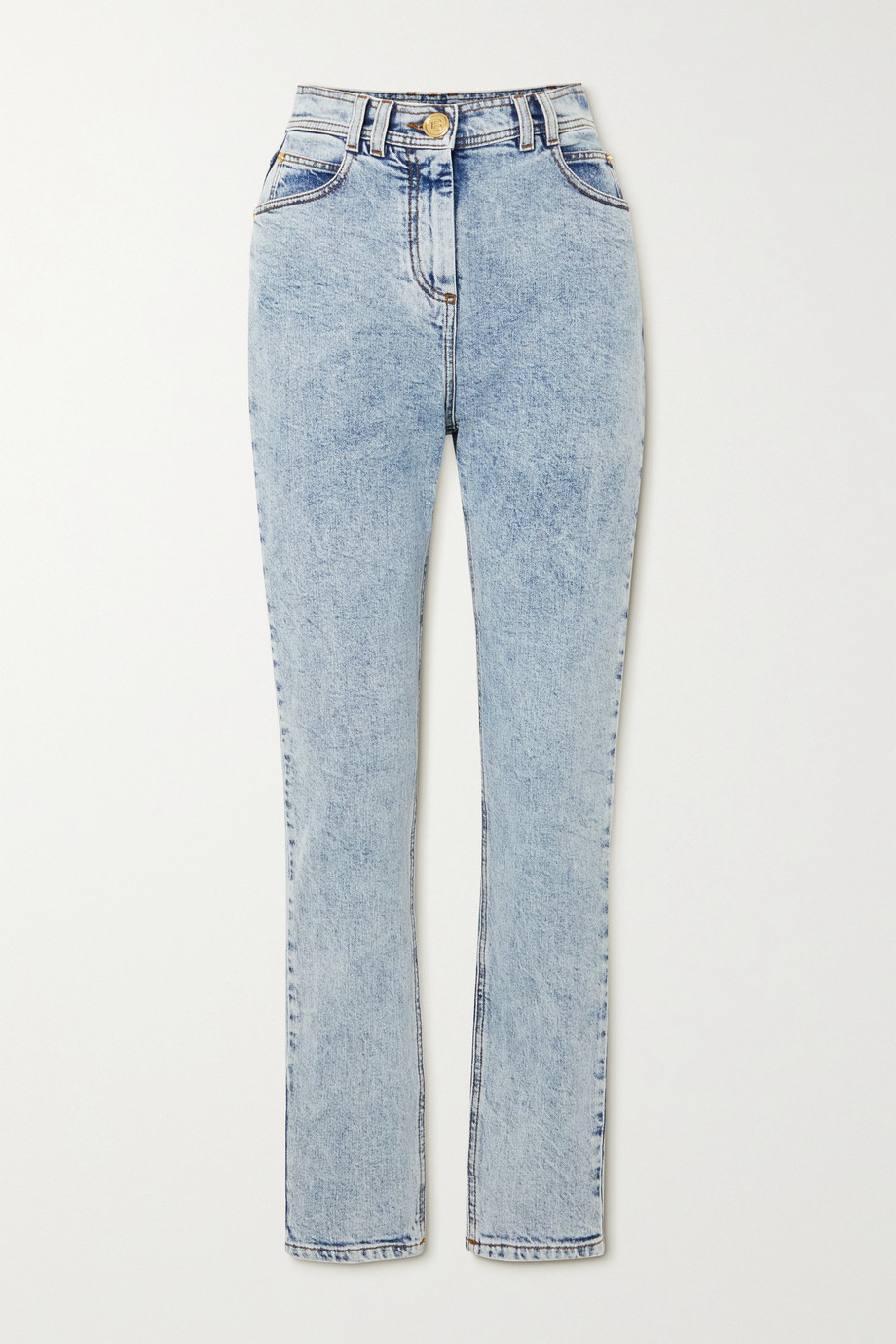 BALMAIN Acid-wash high-rise skinny jeans