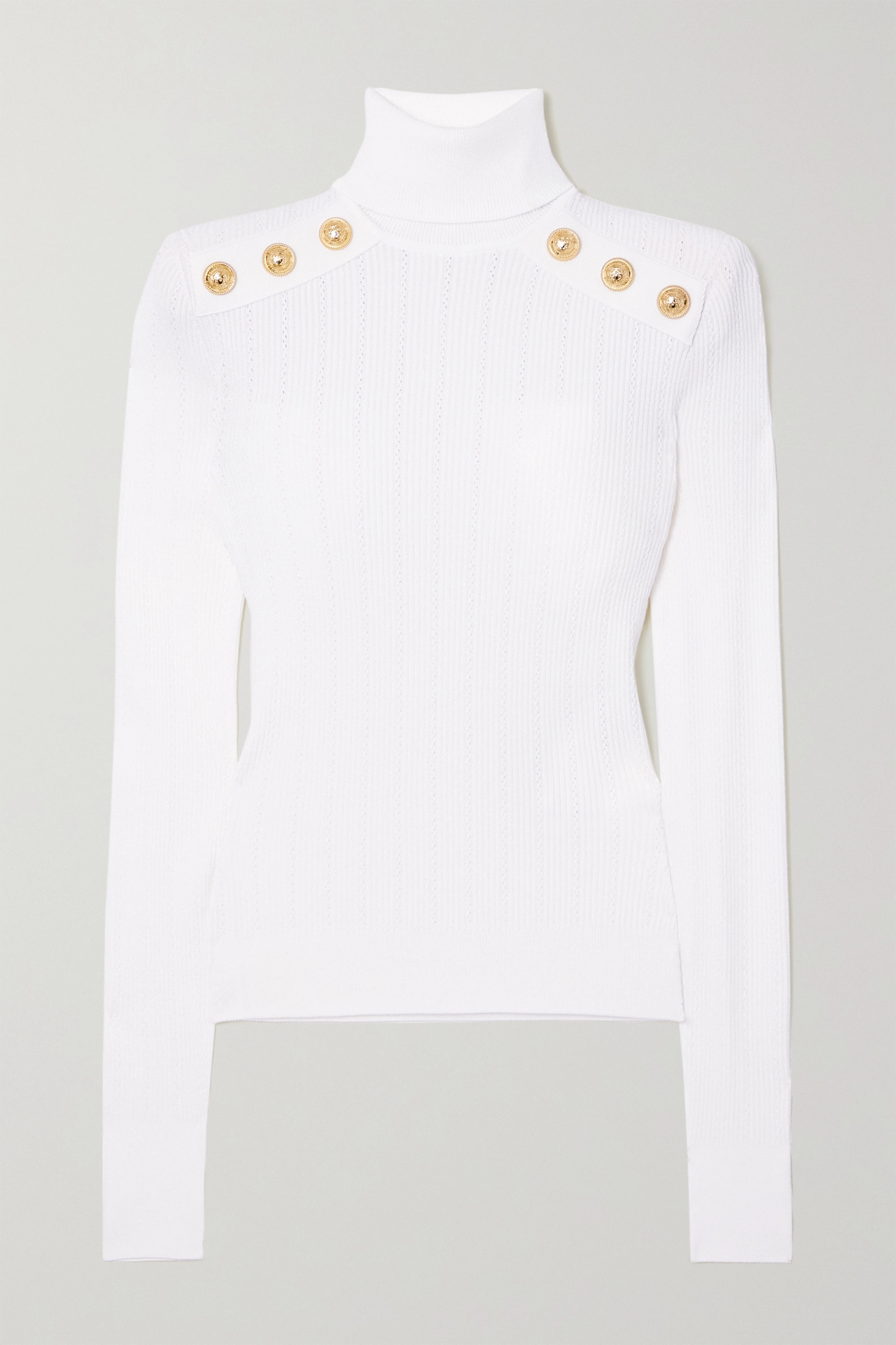 BALMAIN Button-embellished ribbed-knit turtleneck sweater