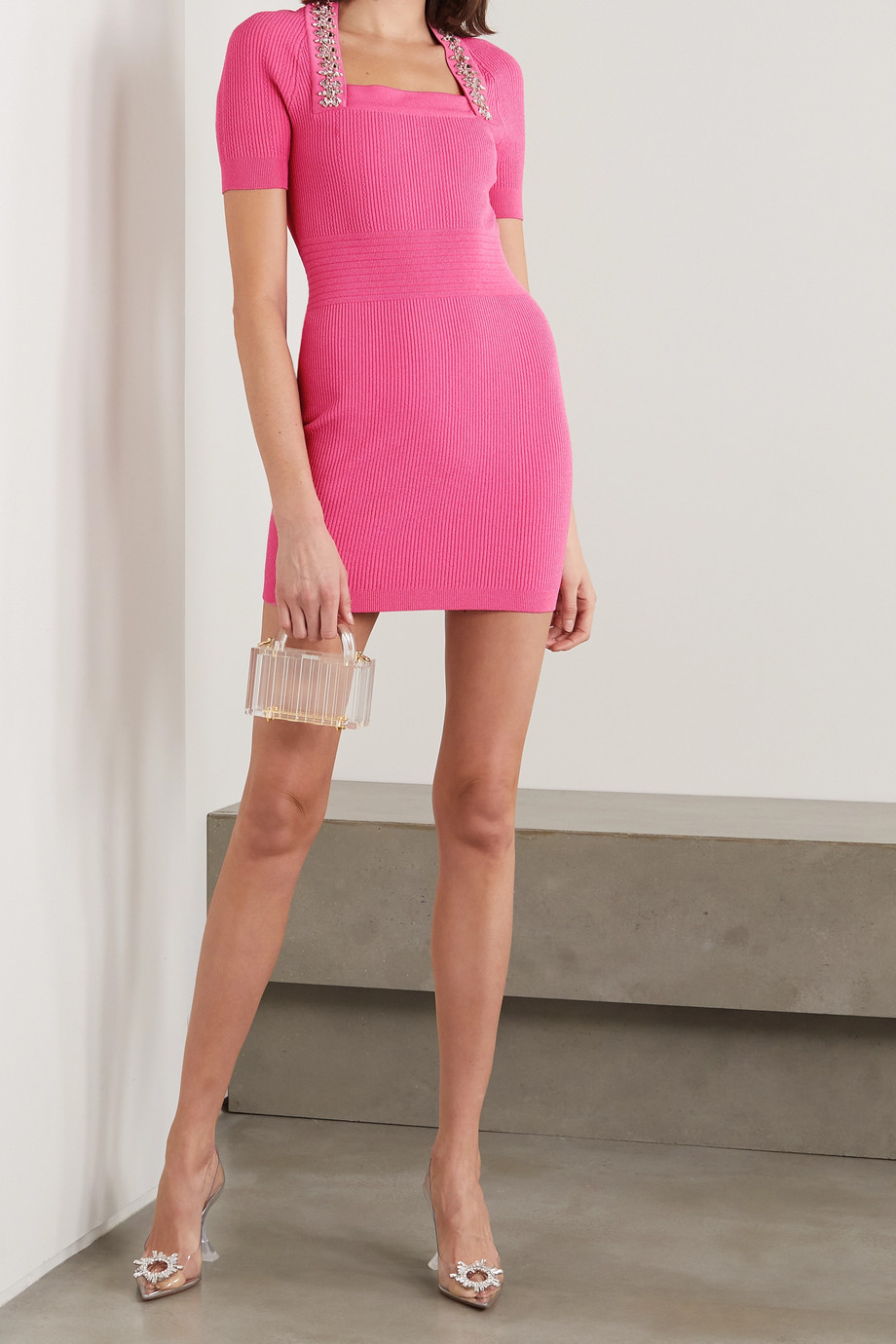 BALMAIN Crystal-embellished ribbed stretch-knit mini dress