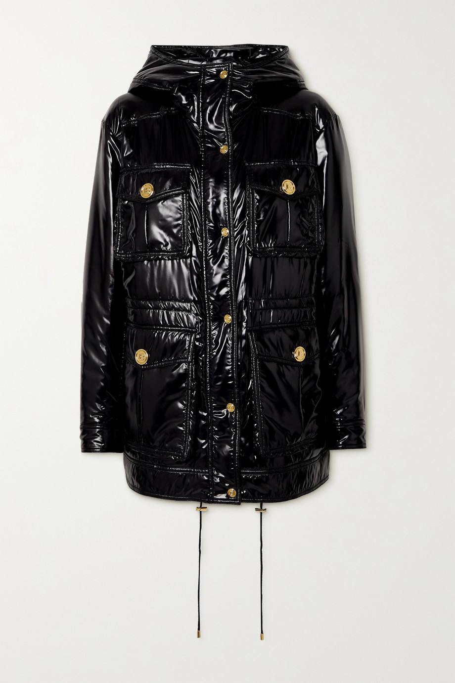 BALMAIN Hooded padded glossed-shell jacket