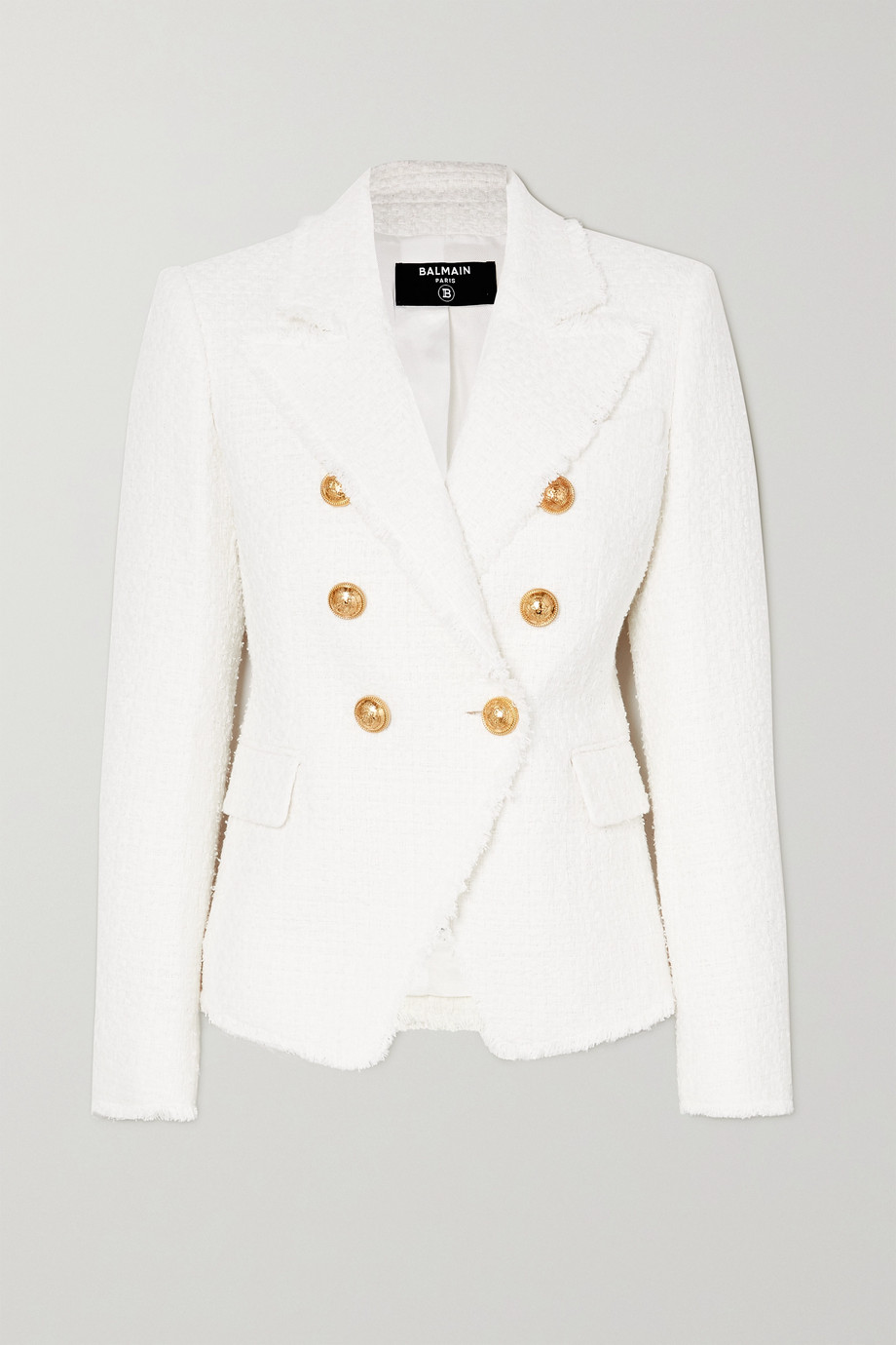 BALMAIN Double-breasted cotton-blend tweed blazer