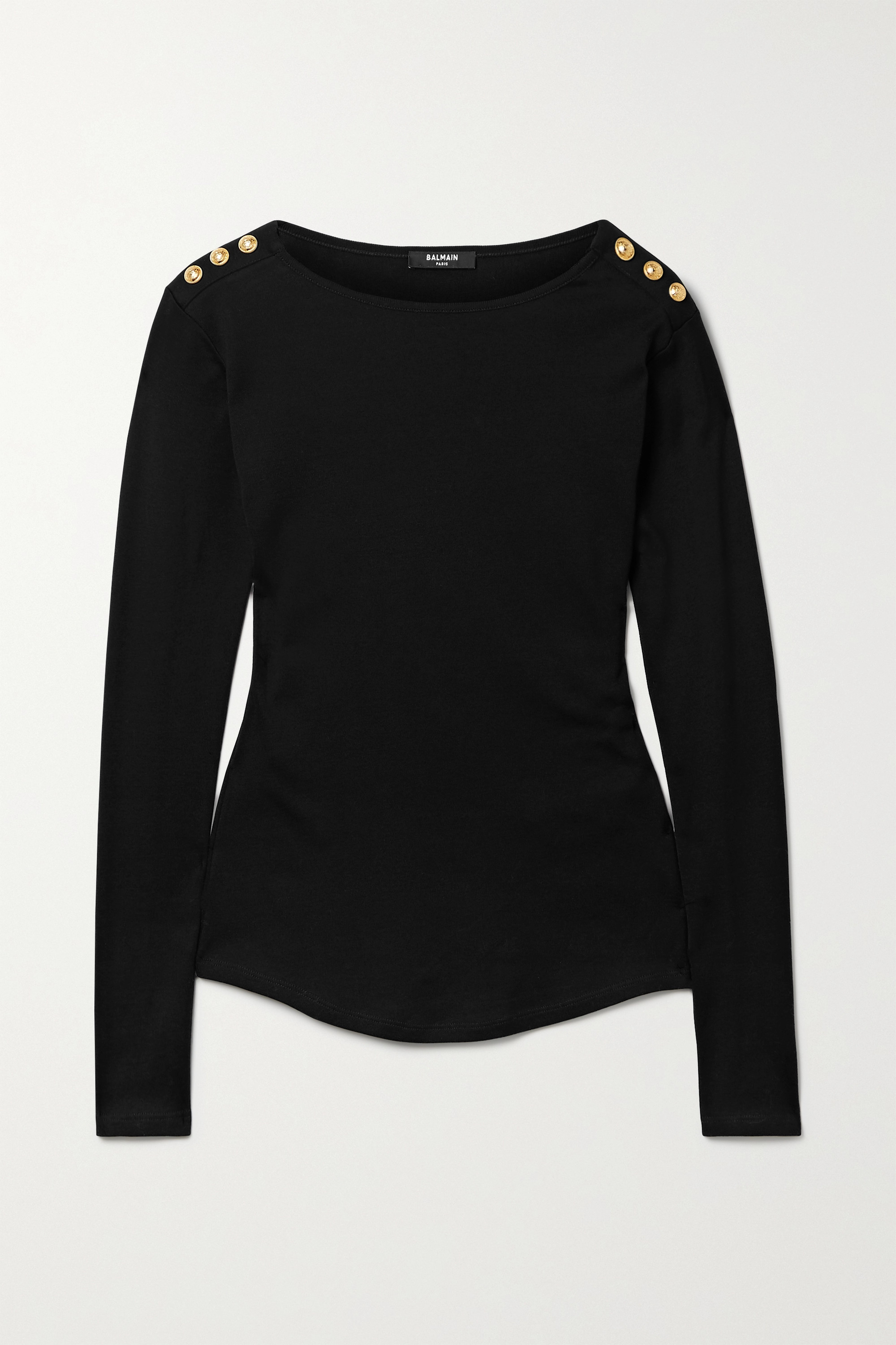 BALMAIN Button-embellished cotton-jersey top