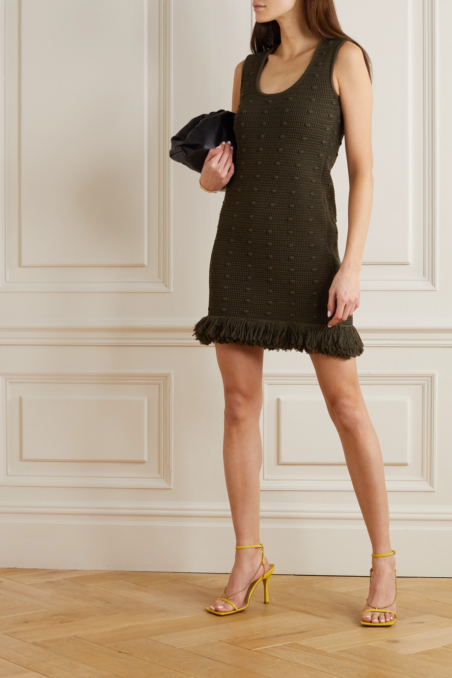 BOTTEGA VENETA Fringed cotton mini dress