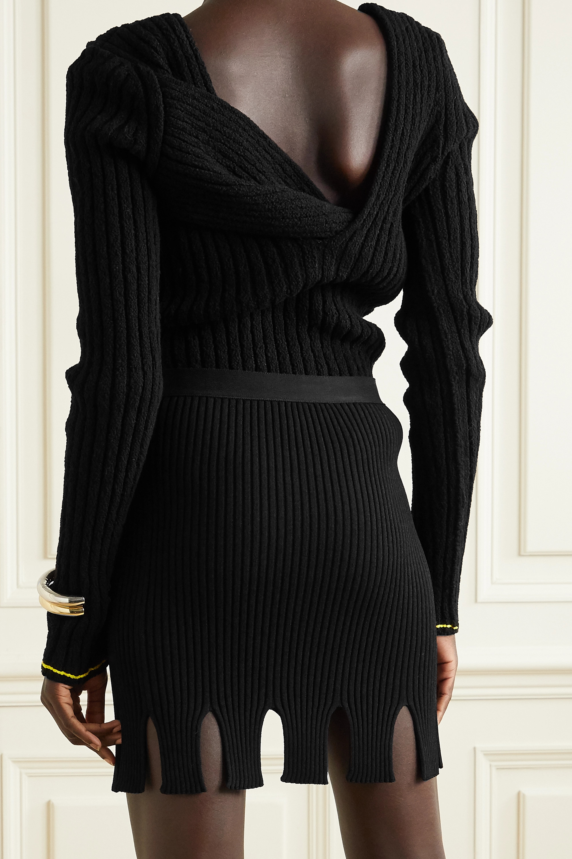 BOTTEGA VENETA Cutout ribbed-knit mini skirt