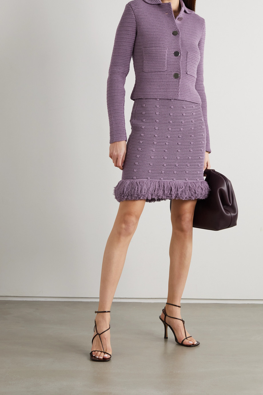 BOTTEGA VENETA Fringed polka-dot crochet-knit cotton mini skirt