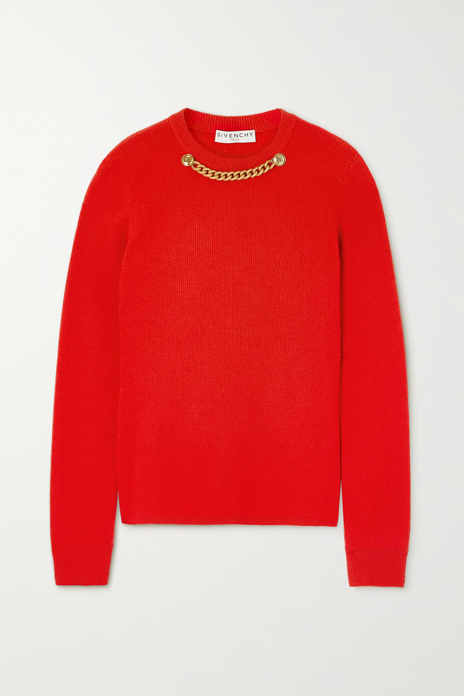 GIVENCHY Chain-embellished ribbed wool and cashmere-blend sweater