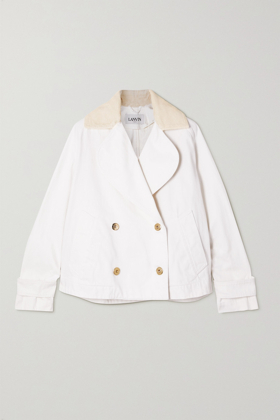 LANVIN Double-breasted corduroy-trimmed cotton-canvas jacket