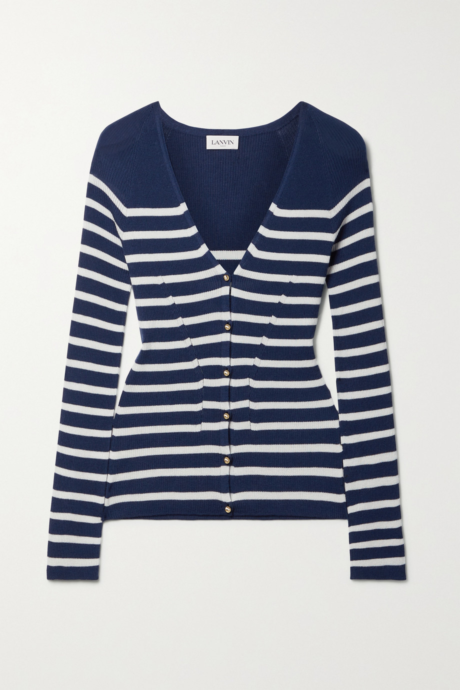 LANVIN Ribbed striped cashmere and silk-blend cardigan