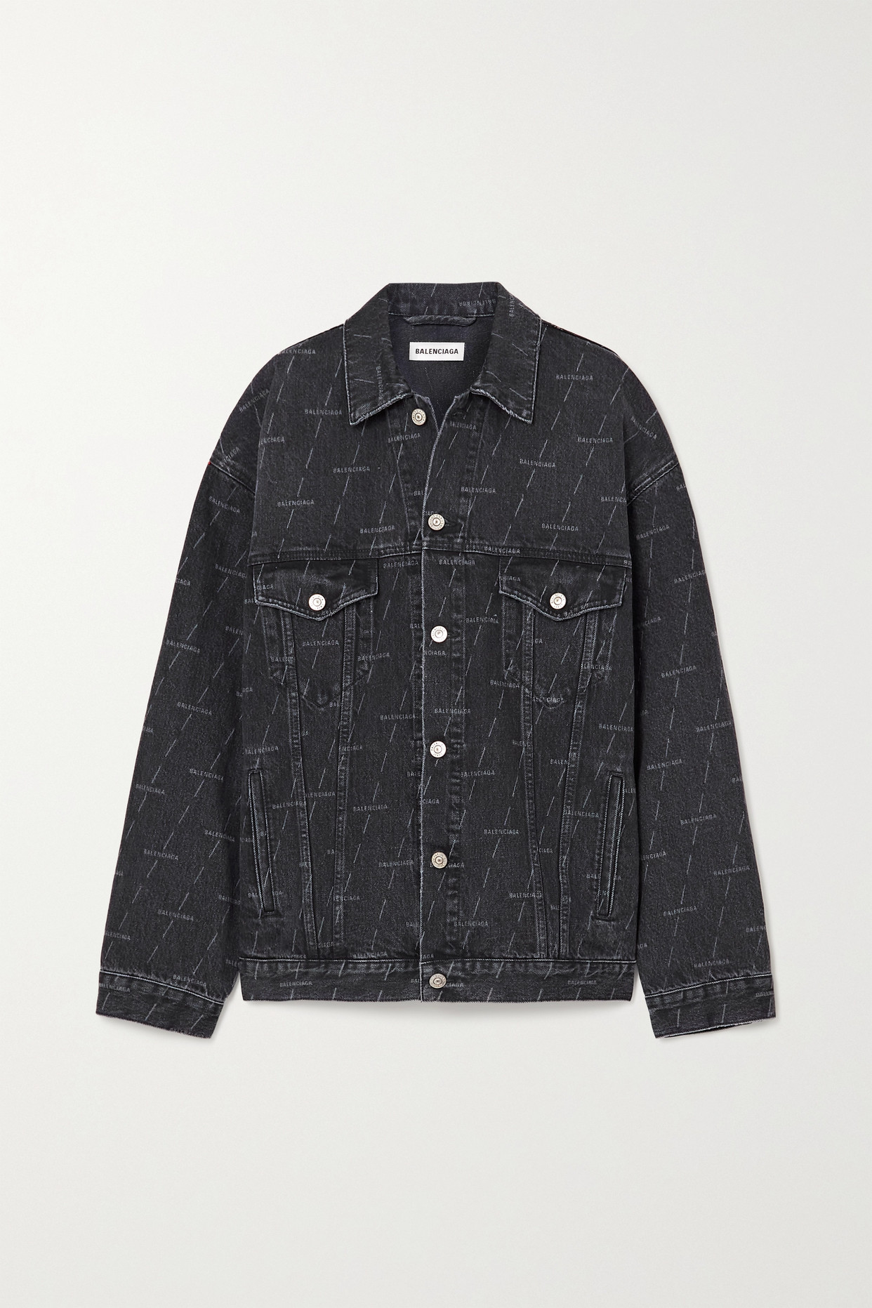 BALENCIAGA - Oversized Printed Denim Jacket - Black - FR36