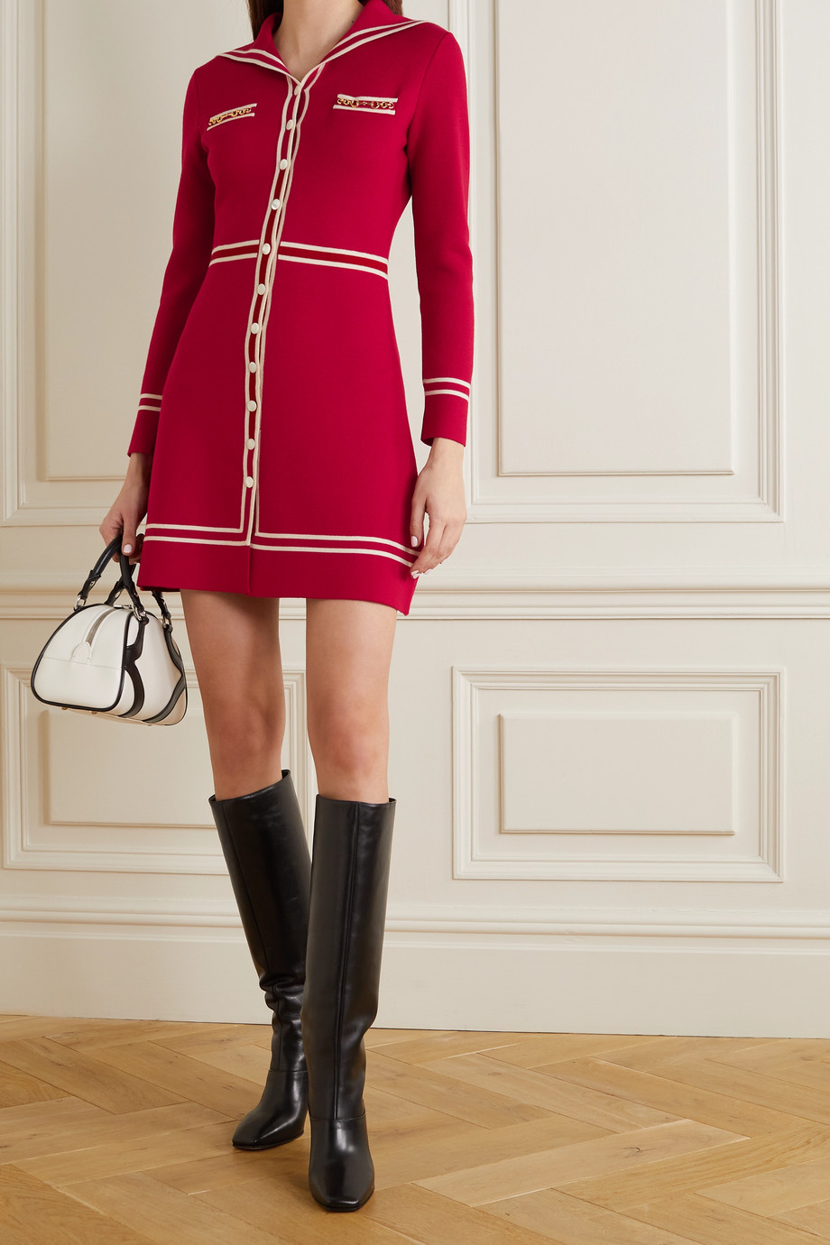 GUCCI Horsebit-detailed wool-jacquard mini dress