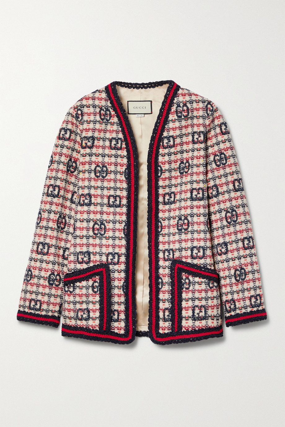 GUCCI Checked wool-blend tweed jacket