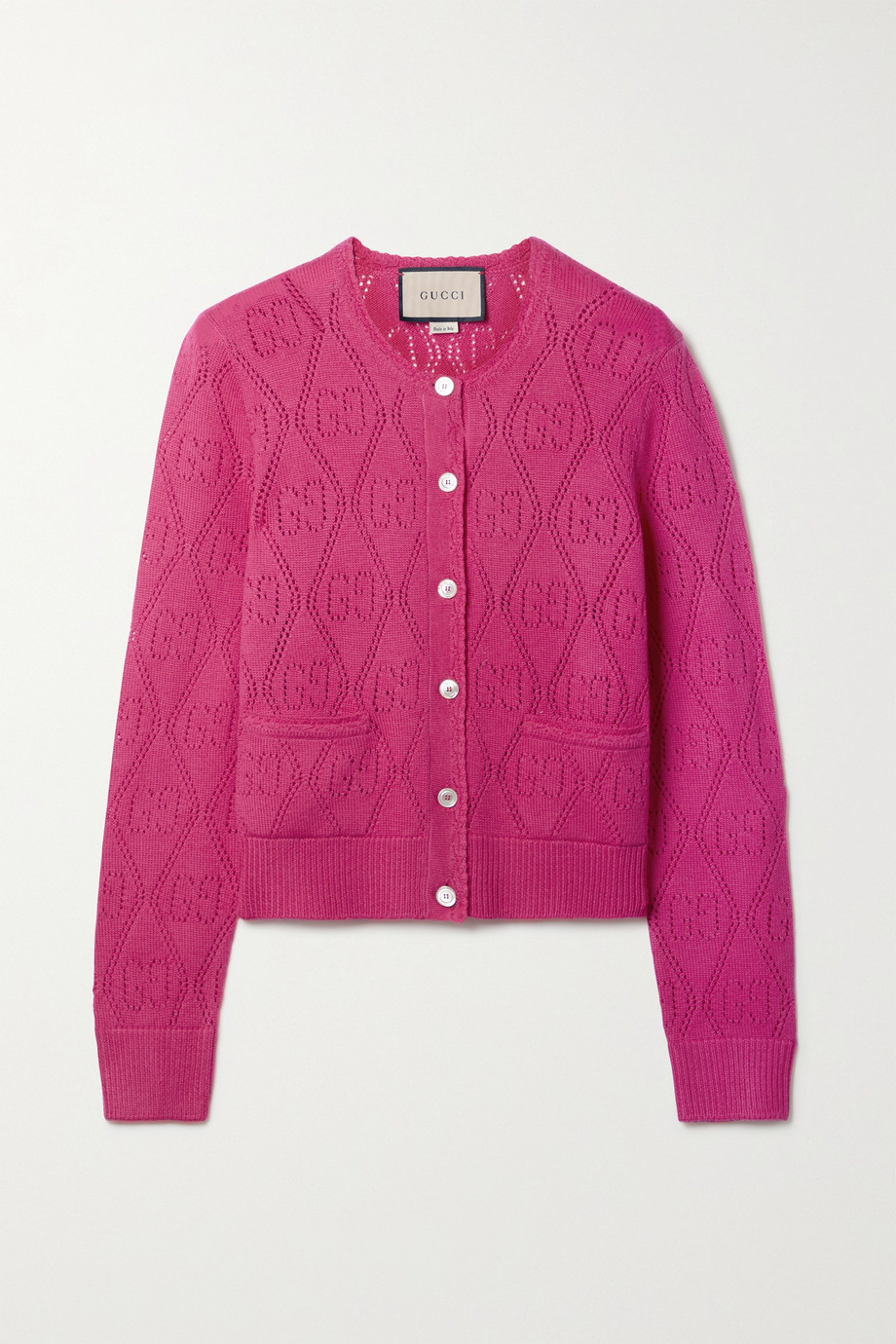 GUCCI Pointelle-knit wool cardigan