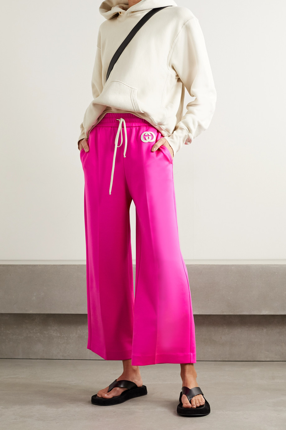 GUCCI Cropped appliquéd neon stretch-jersey wide-leg track pants