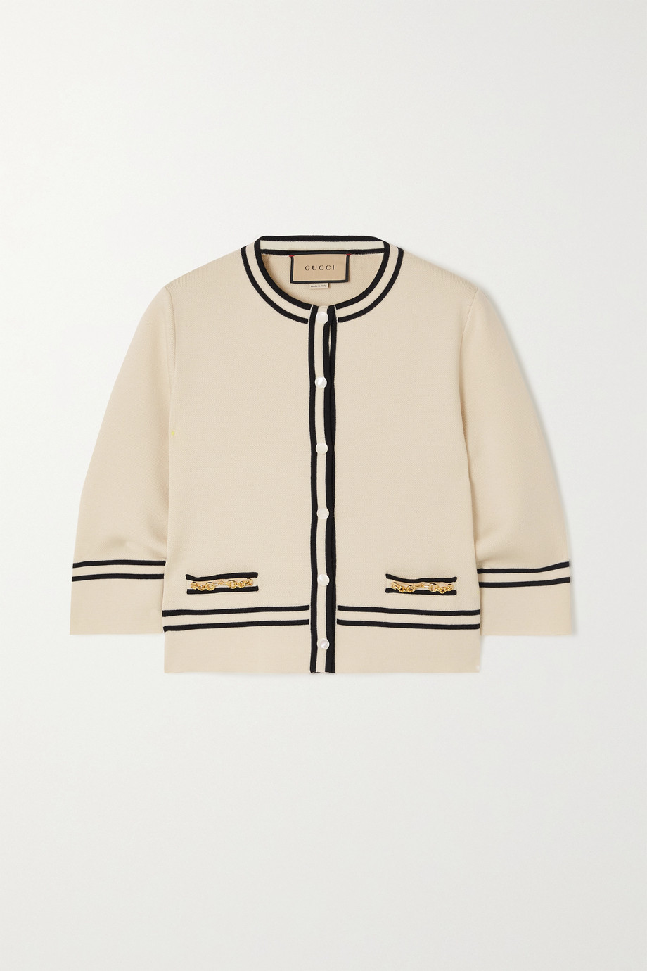 GUCCI Horsebit-embellished striped wool cardigan