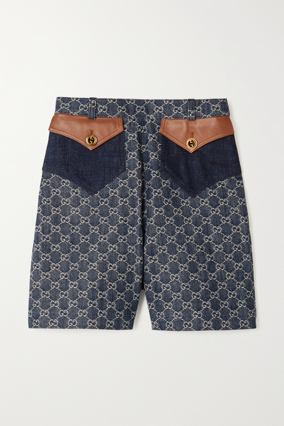 GUCCI + NET SUSTAIN leather-trimmed organic denim-jacquard shorts