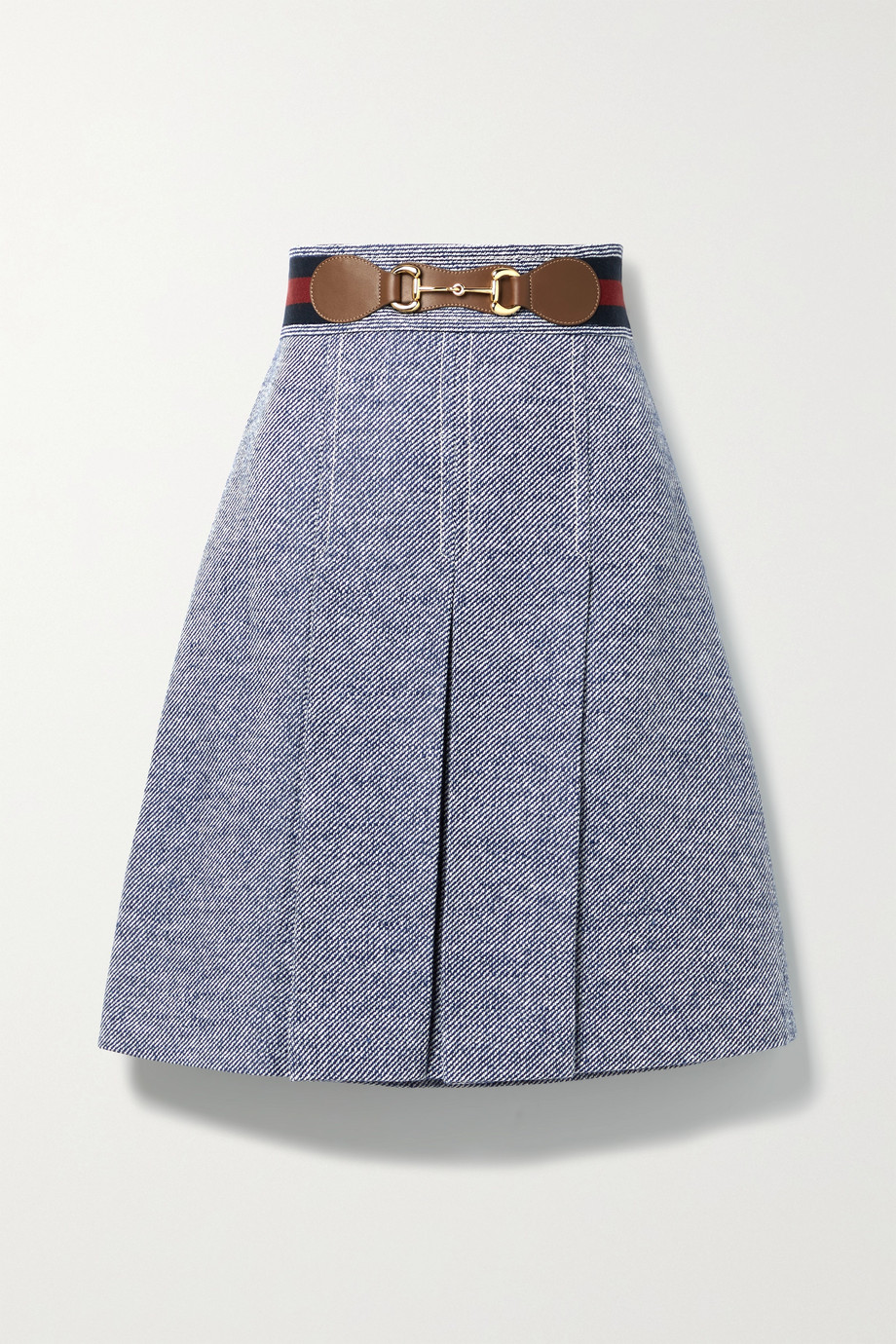 GUCCI Horsebit-detailed leather-trimmed pleated woven skirt