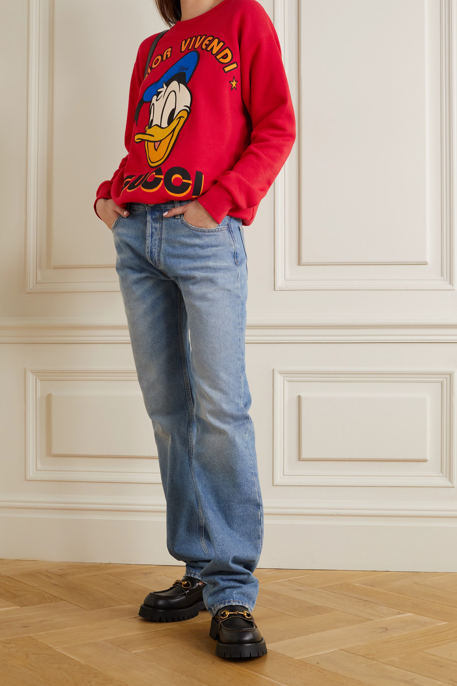 GUCCI + NET SUSTAIN + Disney appliquéd printed organic cotton-jersey sweatshirt