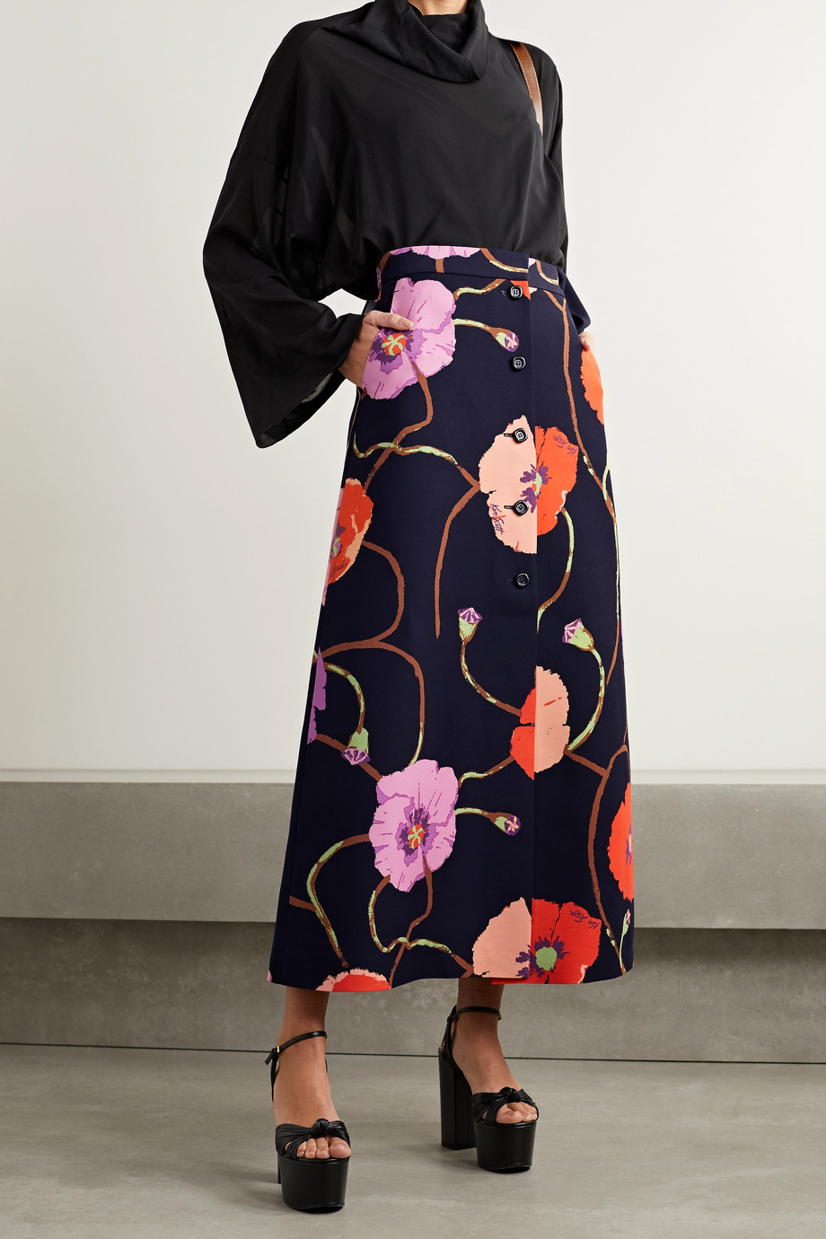 GUCCI + Ken Scott floral-print silk and wool-blend midi skirt