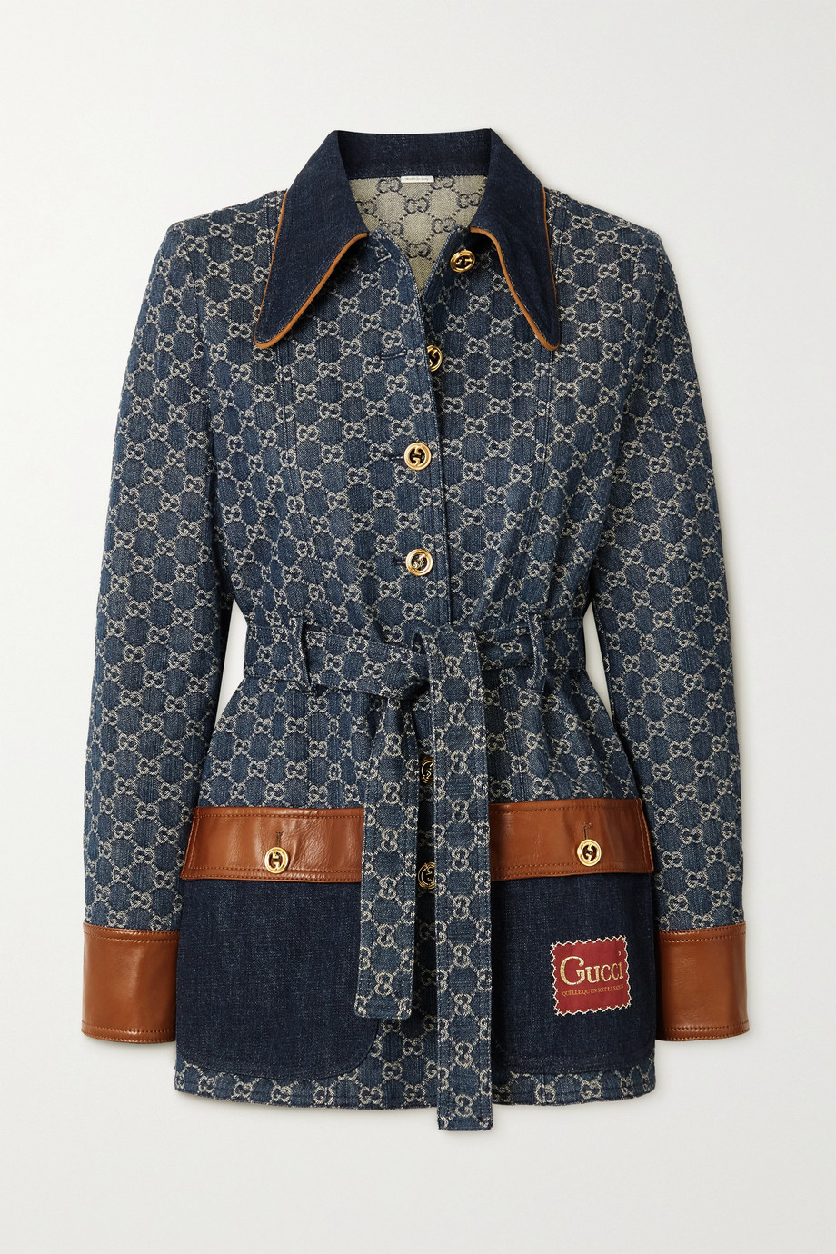 GUCCI + NET SUSTAIN leather-trimmed organic denim-jacquard jacket