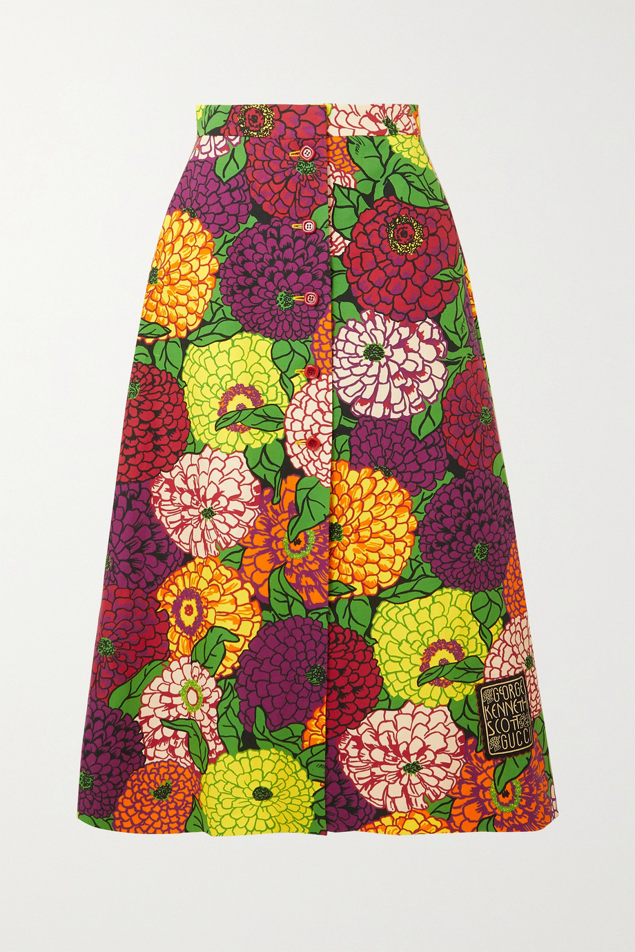 GUCCI + Ken Scott appliquéd floral-print cotton and linen-blend midi skirt