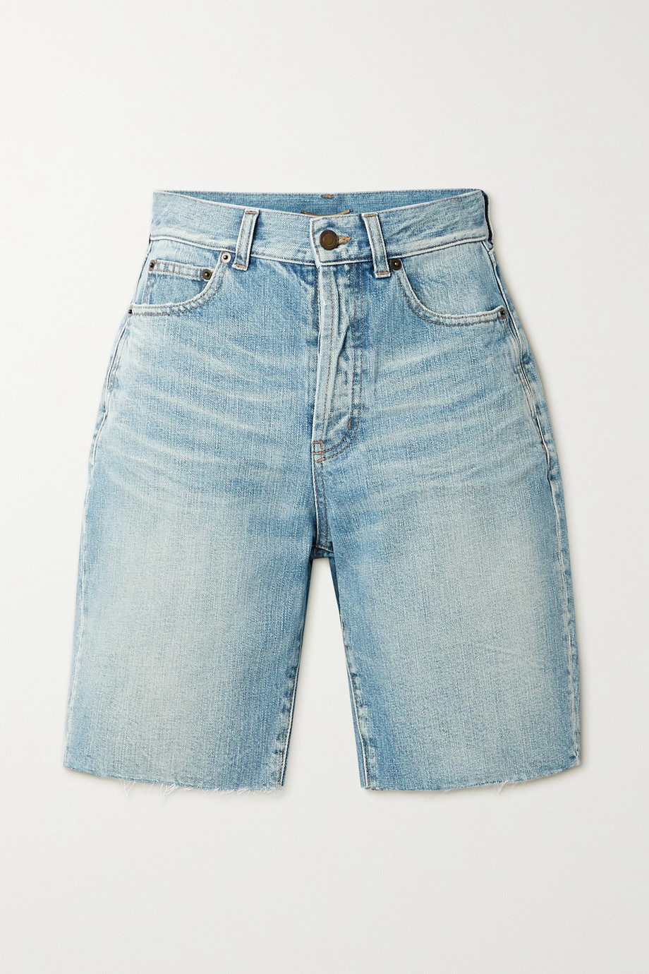 SAINT LAURENT Frayed denim shorts