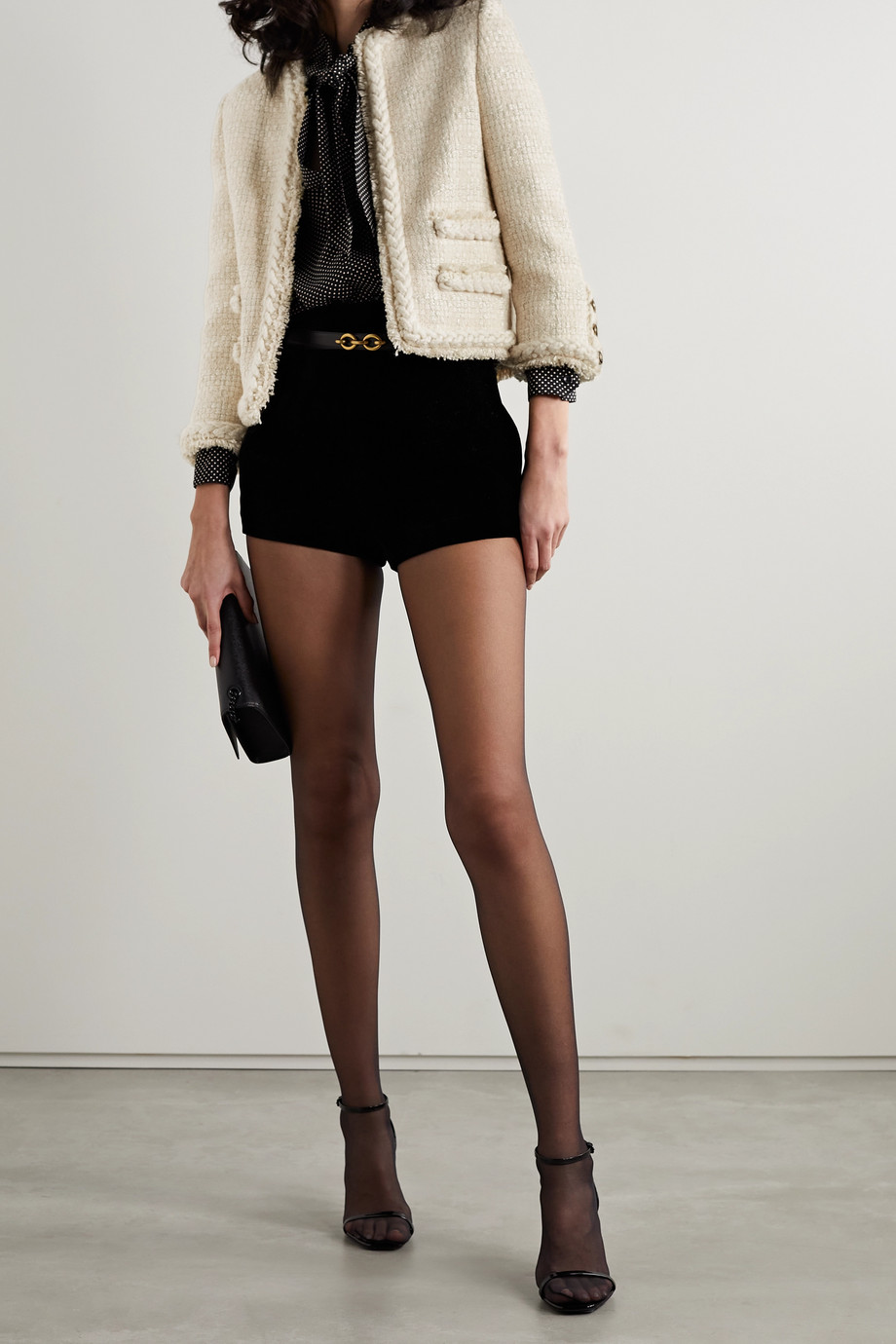 SAINT LAURENT Cropped wool-blend tweed jacket