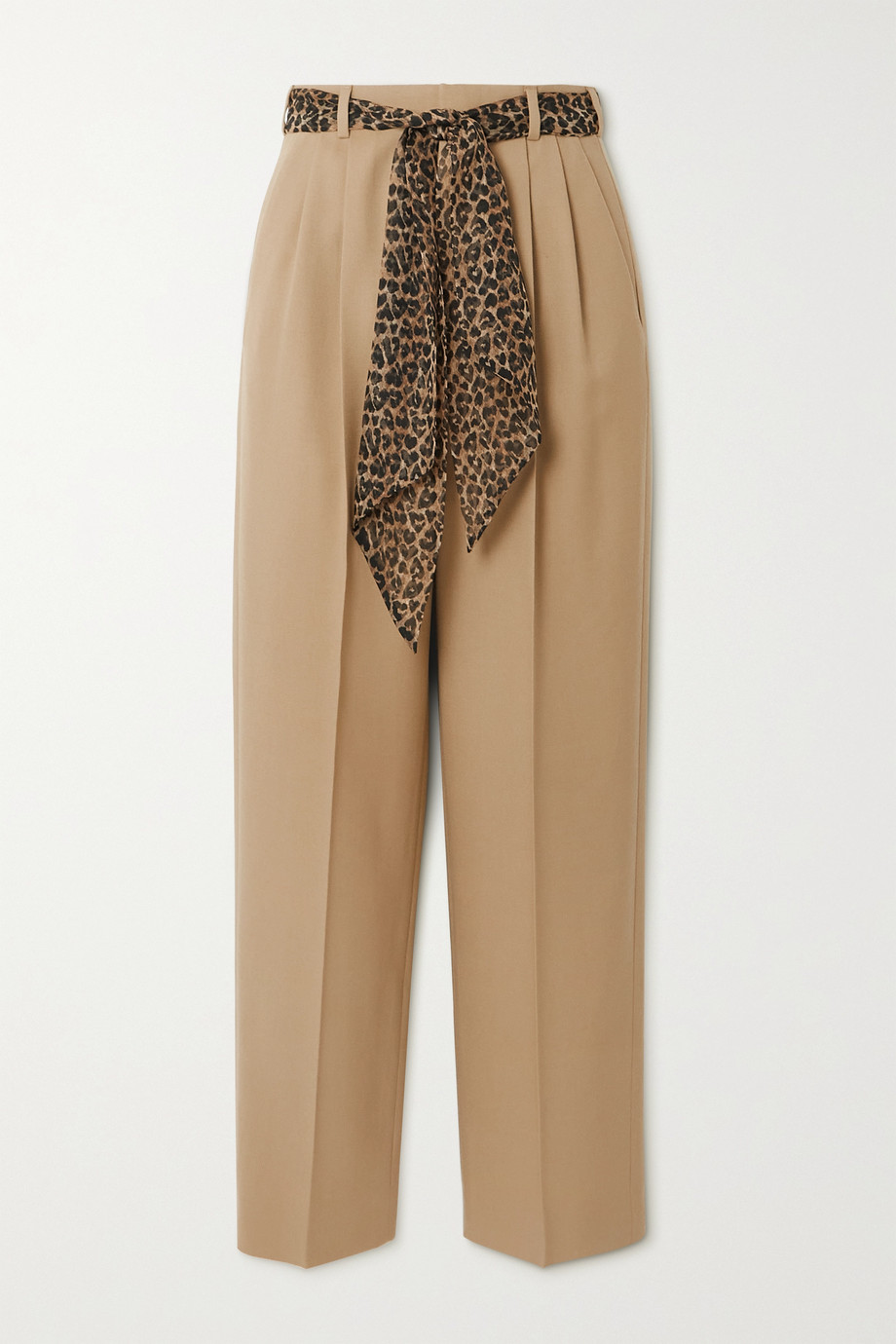 SAINT LAURENT Belted wool-gabardine straight-leg pants