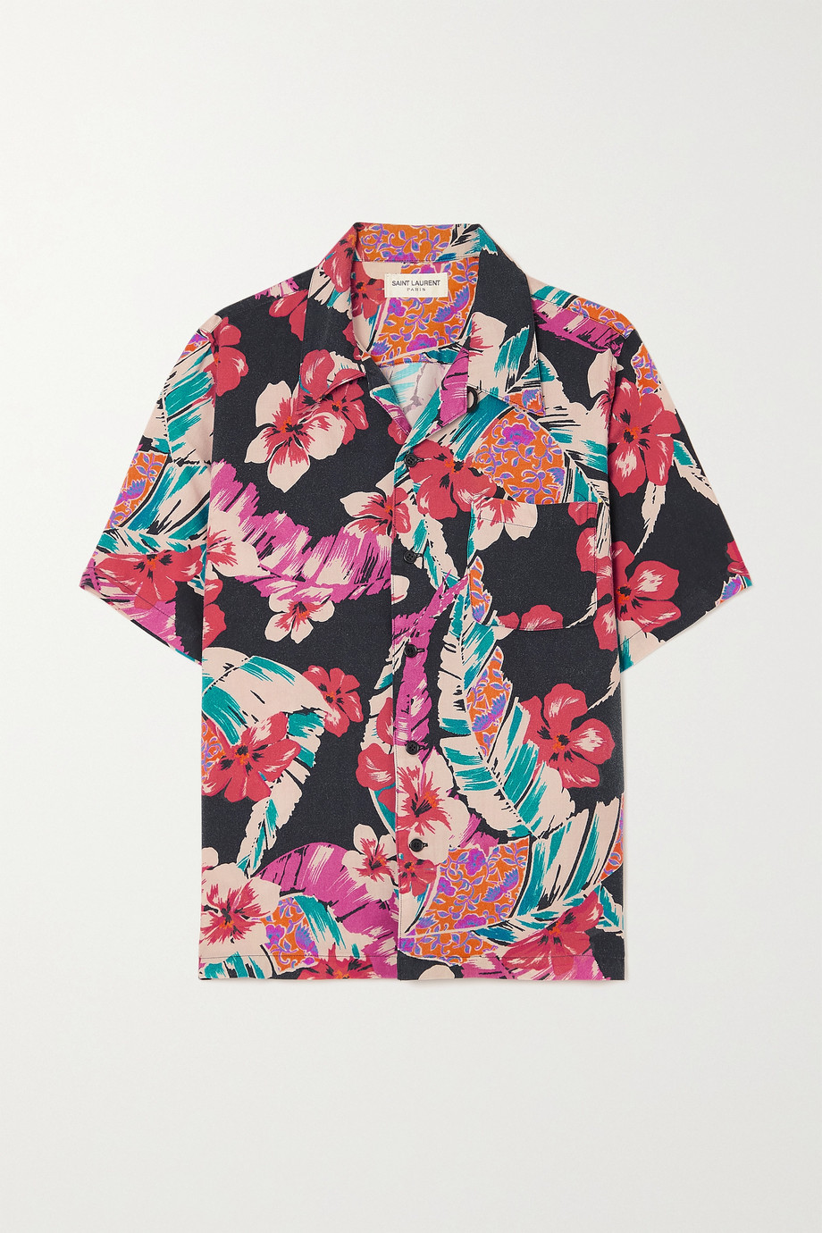 SAINT LAURENT Floral-print twill shirt