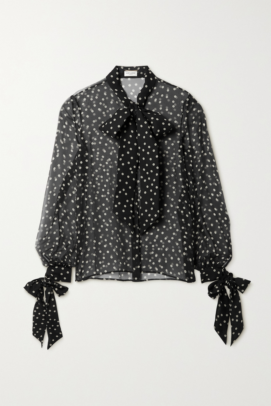SAINT LAURENT Tie-detailed polka-dot silk-chiffon shirt
