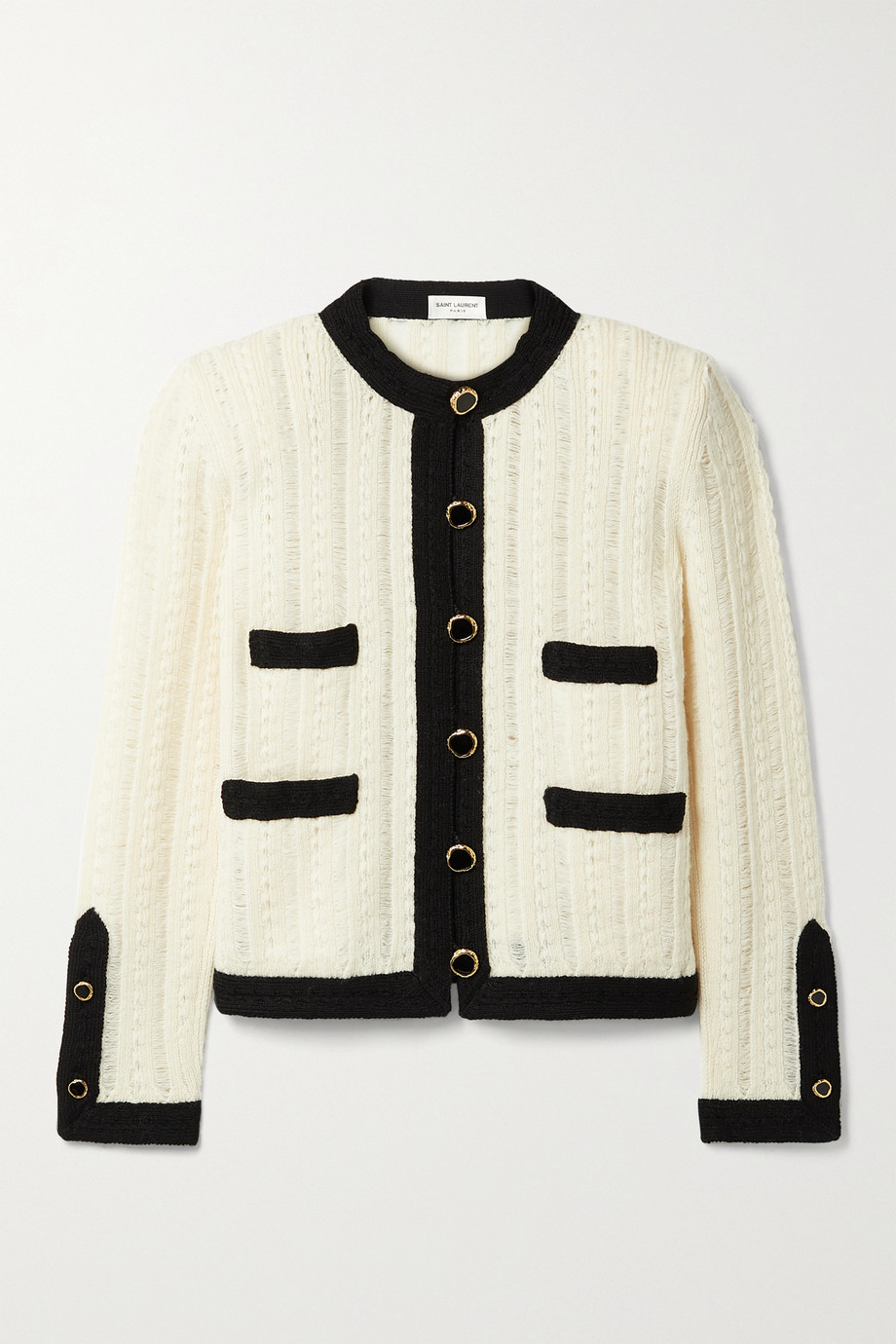 SAINT LAURENT Two-tone ribbed wool jacket