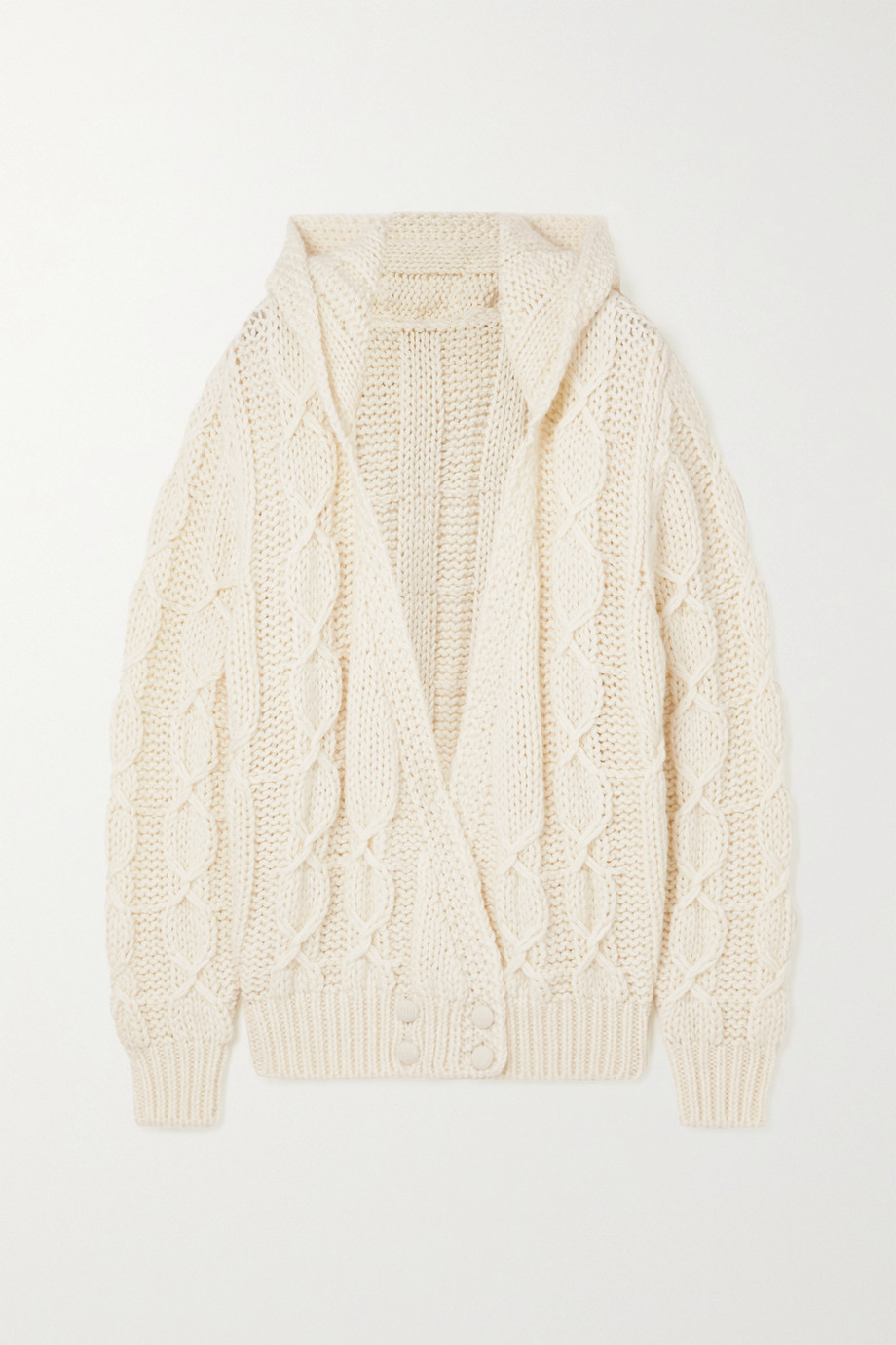 SAINT LAURENT Hooded cable-knit wool-blend cardigan
