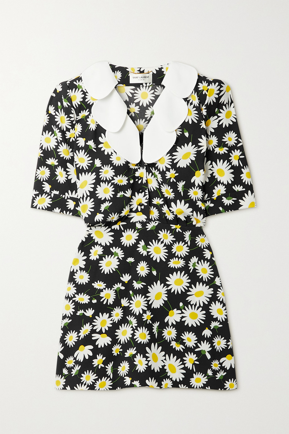 SAINT LAURENT Ruffled floral-print crepe mini dress