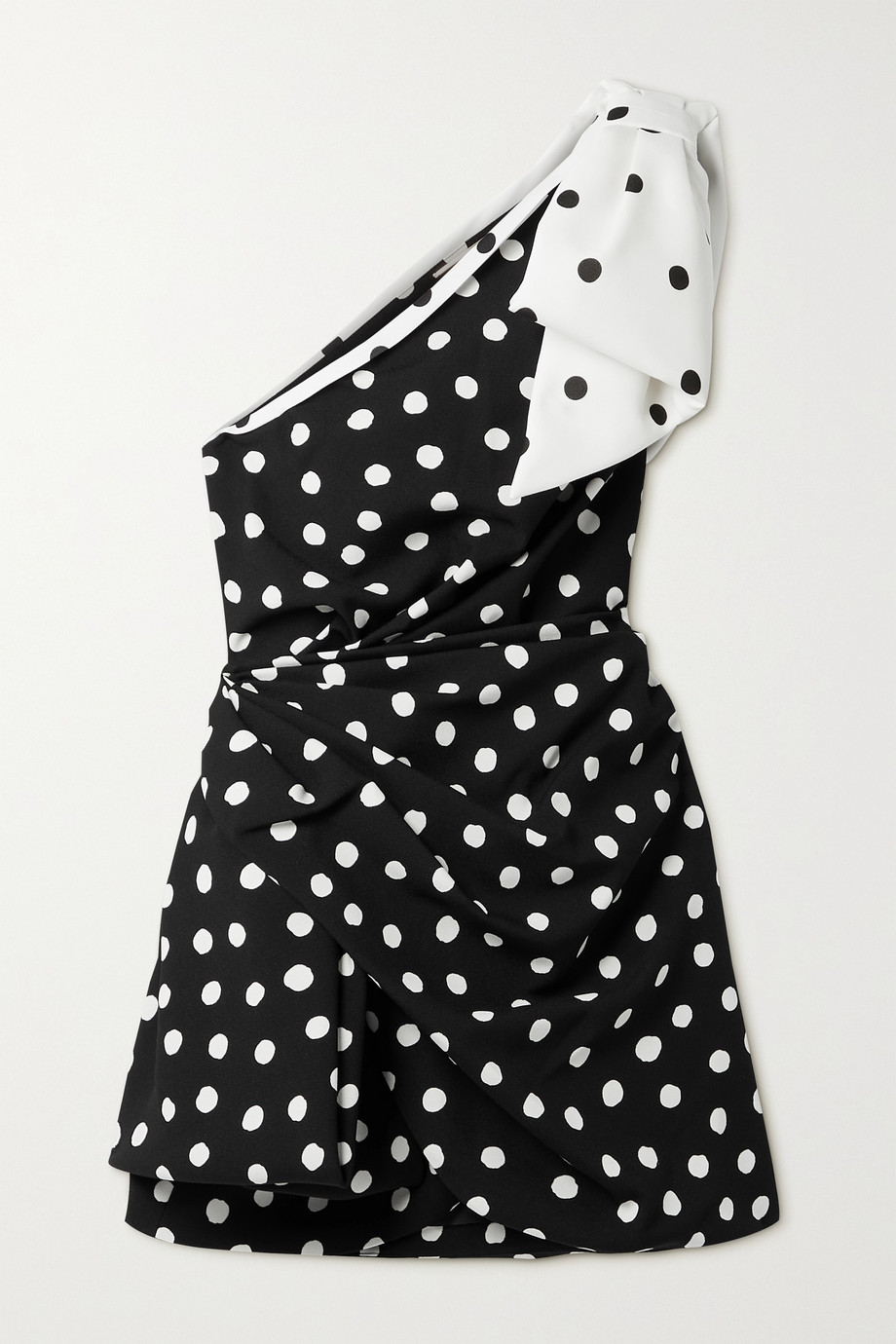 SAINT LAURENT Bow-embellished one-shoulder draped polka-dot crepe mini dress