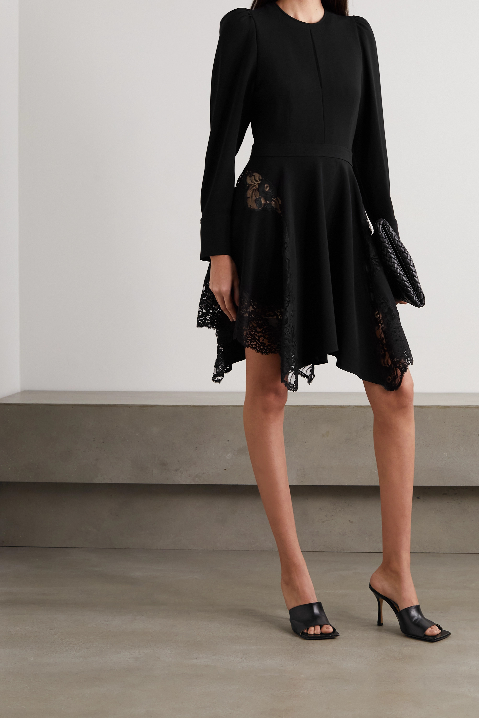 STELLA MCCARTNEY + NET SUSTAIN Celeste asymmetric lace-paneled cady mini dress