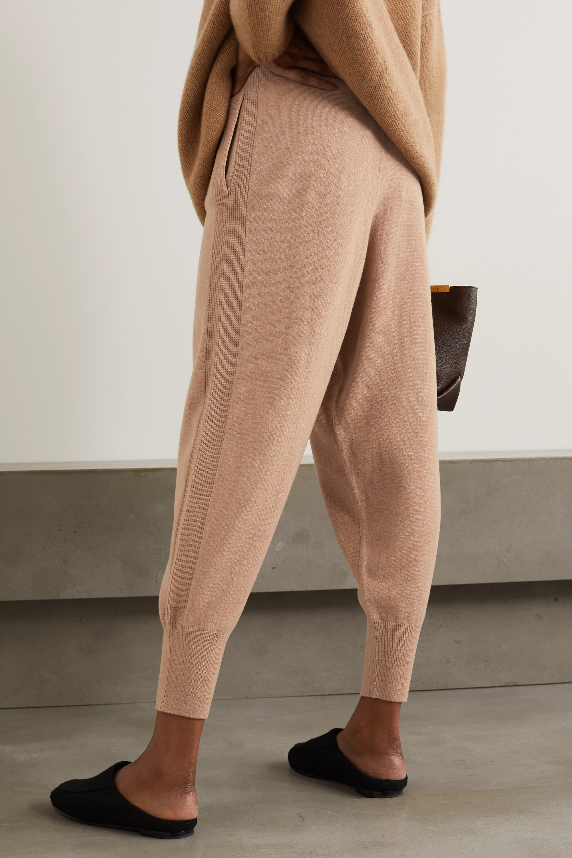STELLA MCCARTNEY + NET SUSTAIN cashmere and wool-blend track pants