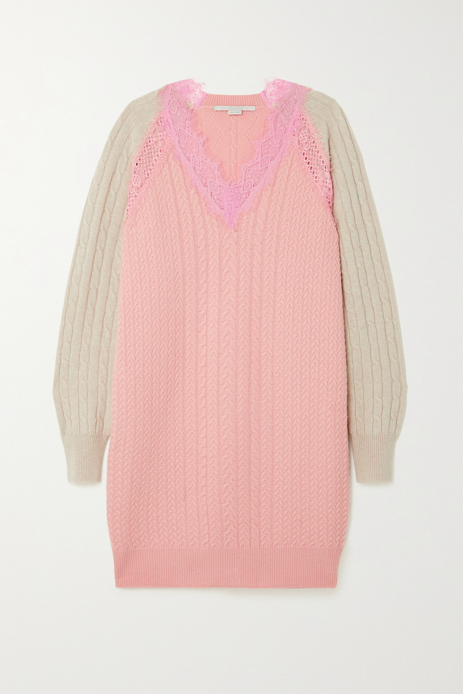 STELLA MCCARTNEY Lace-trimmed cable-knit wool mini dress