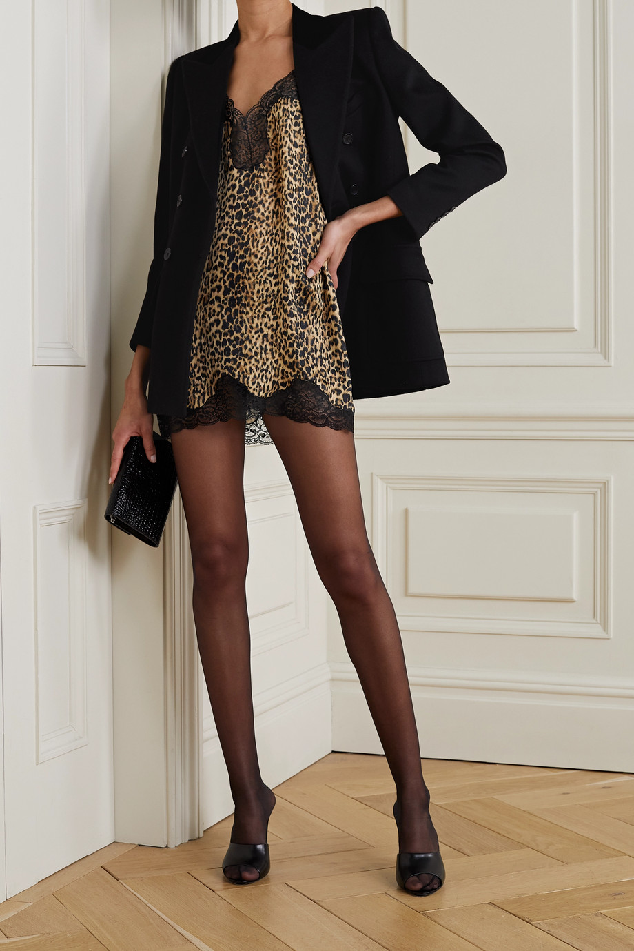 SAINT LAURENT Lace-trimmed leopard-print silk mini dress