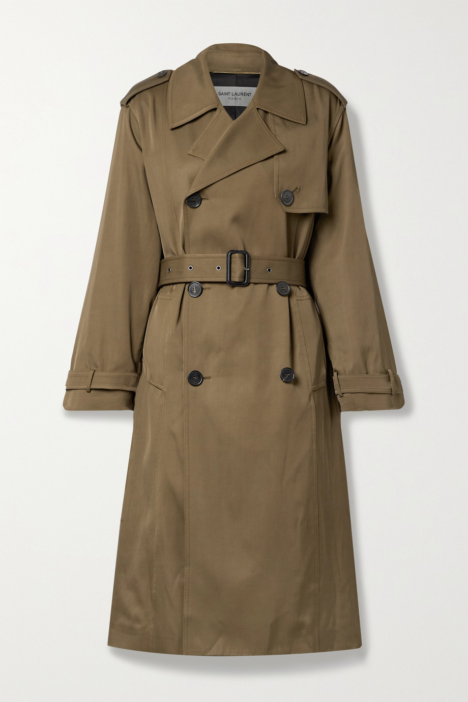 SAINT LAURENT Belted double-breasted gabardine trench coat