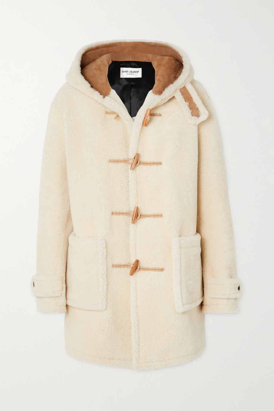 SAINT LAURENT Hooded shearling coat