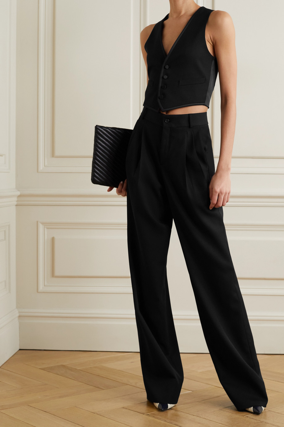 SAINT LAURENT Pleated grain de poudre wool wide-leg pants