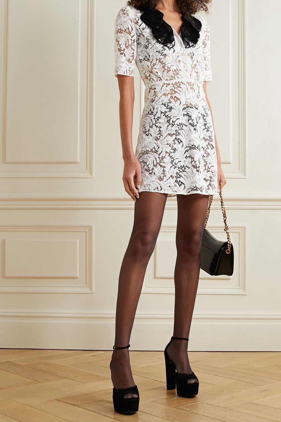 SAINT LAURENT Sequined silk-trimmed cotton-blend corded lace mini dress