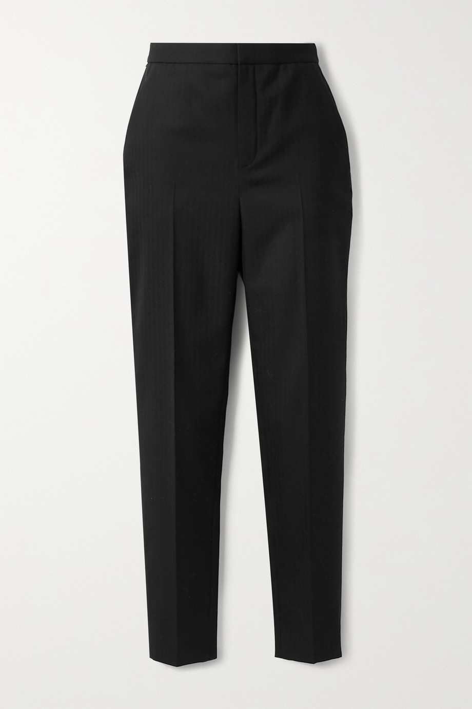 SAINT LAURENT Herringbone wool tapered pants