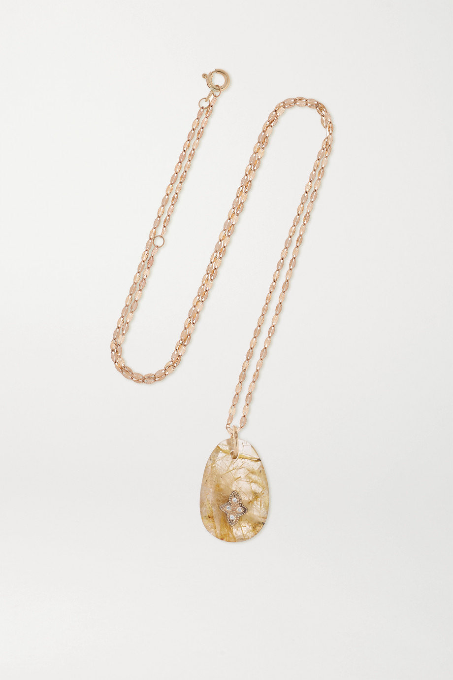 PASCALE MONVOISIN Gaia N°1 9 and 14-karat gold, quartz and diamond necklace