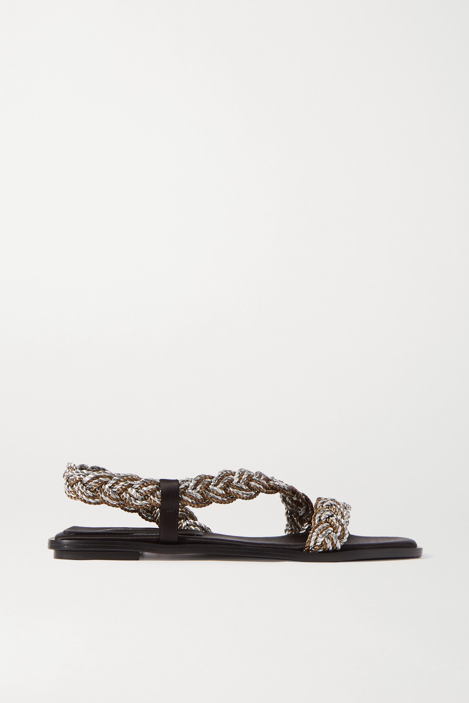 Serena Uziyel Ronda braided metallic rope and satin slingback sandals