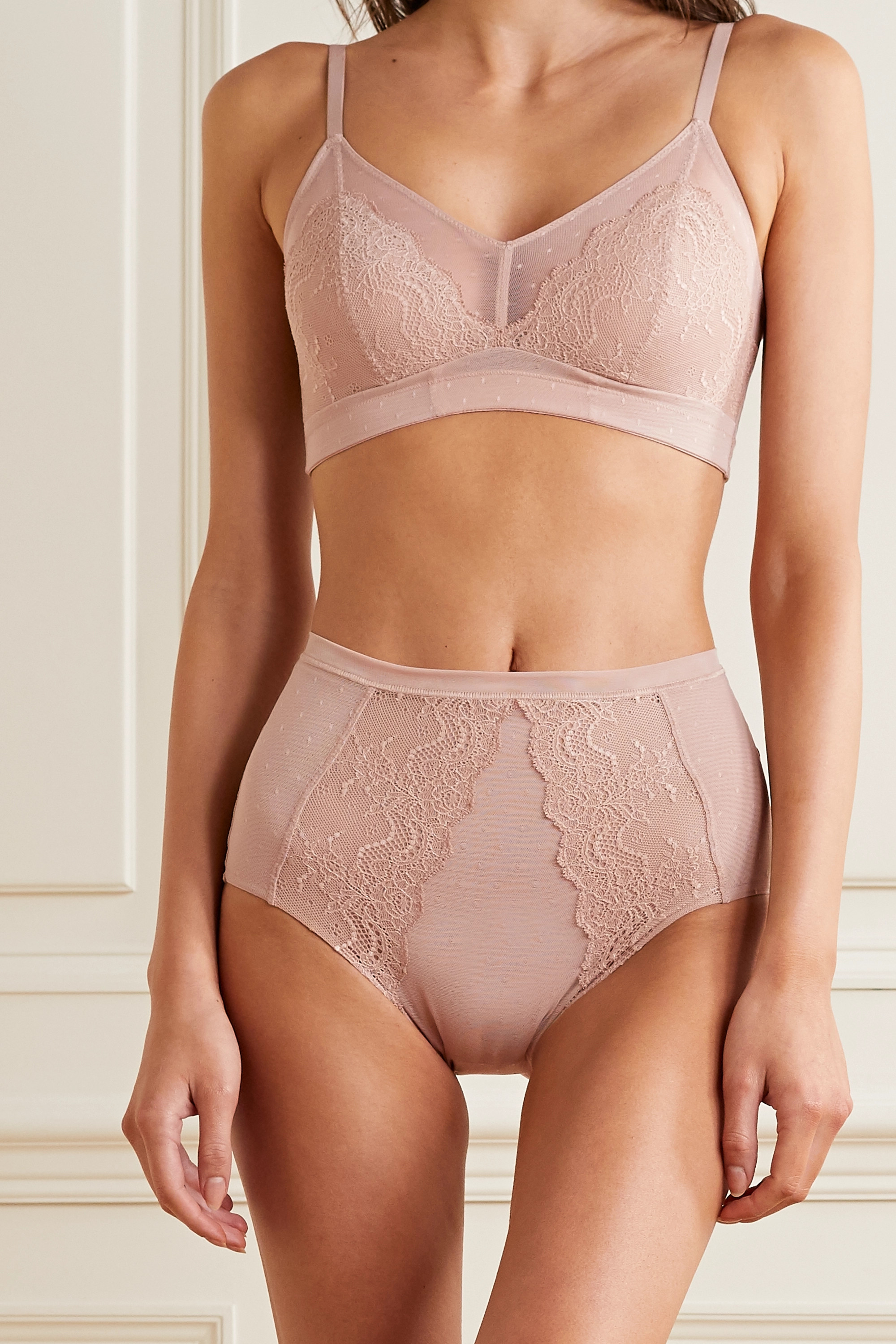 SPANX Spotlight lace-trimmed stretch-tulle briefs