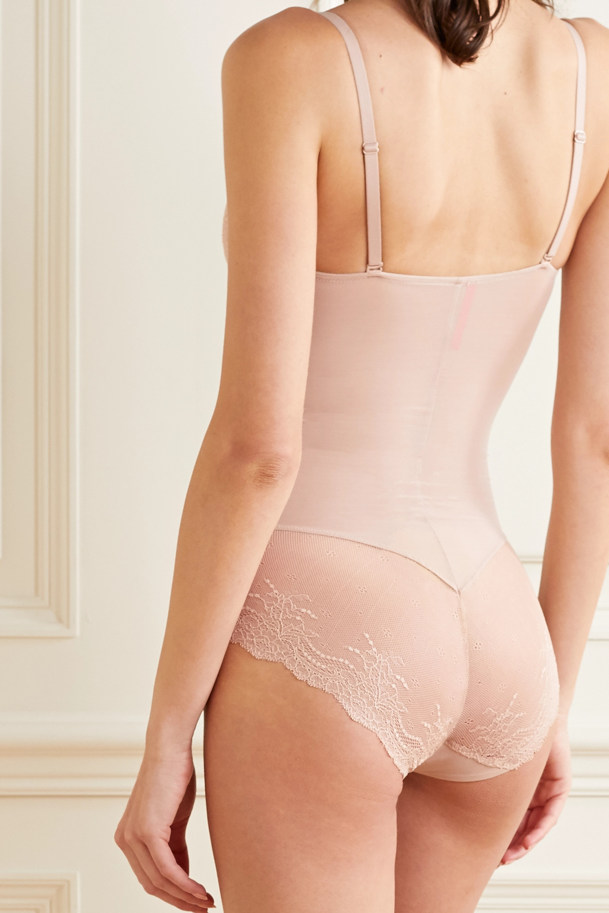SPANX Spotlight lace-trimmed stretch-tulle bodysuit