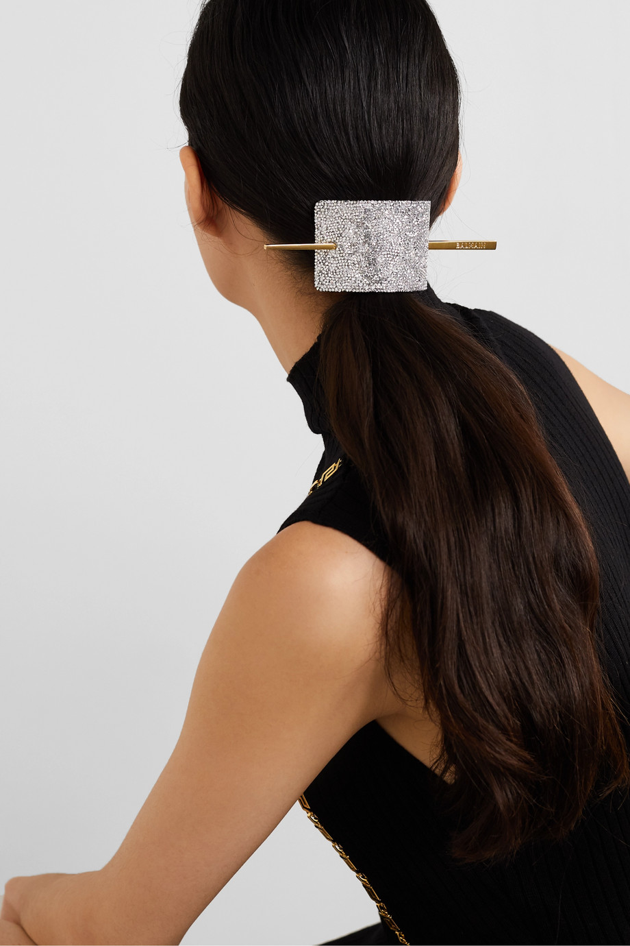 BALMAIN PARIS HAIR COUTURE Gold-tone, crystal and leather hair pin