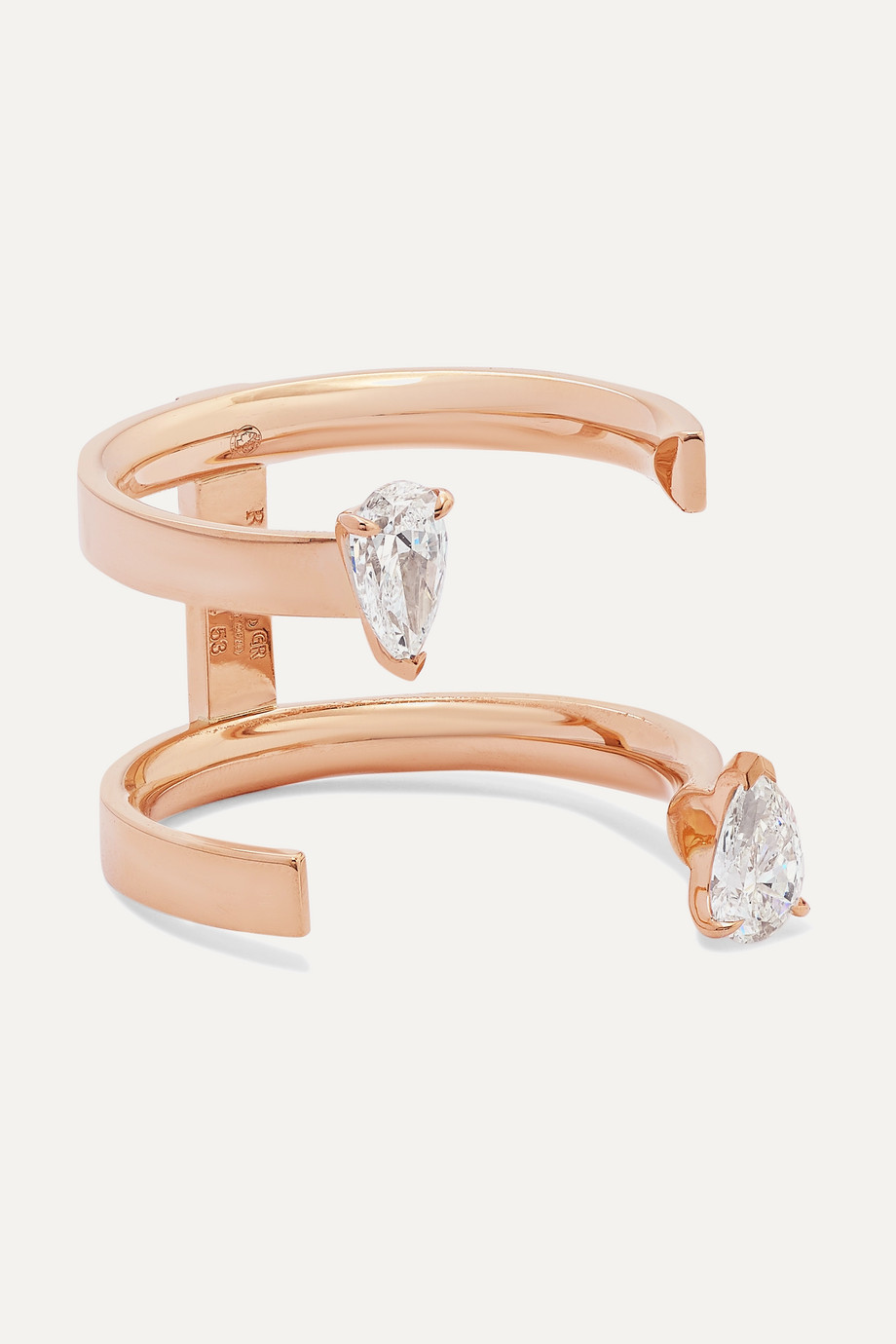 REPOSSI Serti Sur Vide 18-karat rose gold diamond ring