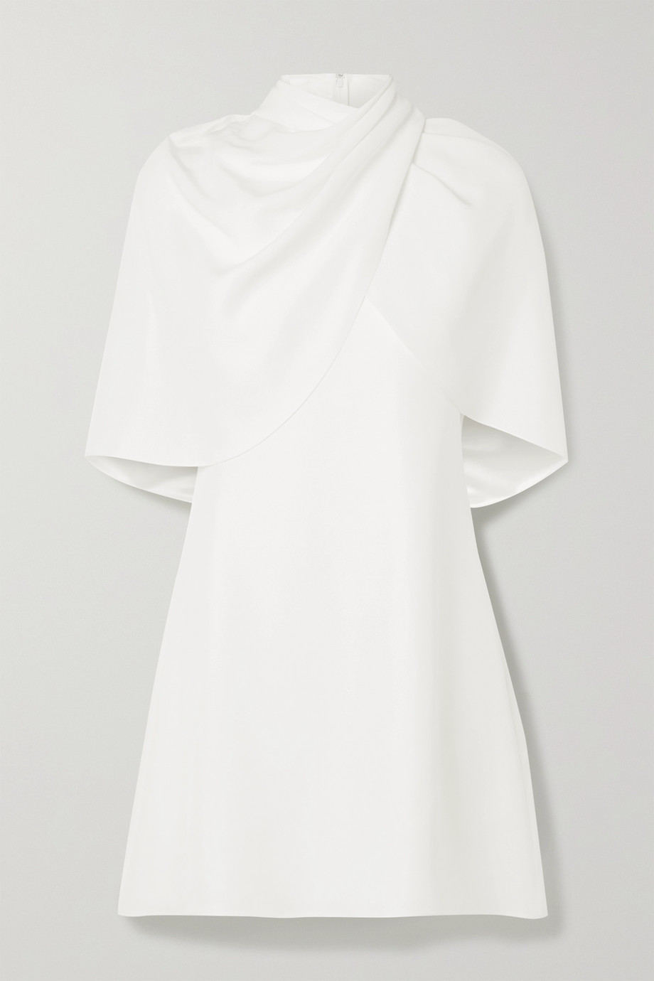 BRANDON MAXWELL Draped cape-effect silk-crepe mini dress